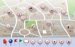 Correspondencia con los iconos del GPS Fotos de archivo libres de regalías