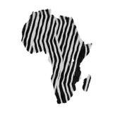 Correspondencia continente africana hecha de la piel realista de la cebra Imagen de archivo libre de regalías