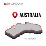 correspondencia 3D de Australia GPS Perno del navegador que comprueba color verde en el fondo blanco Infographics para su negocio Foto de archivo libre de regalías