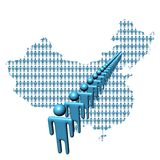 Correspondencia de China con la línea de gente stock de ilustración