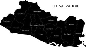 Mapa de El Salvador del vector imagen de archivo libre de regalías