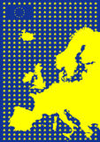 Correspondencia de Europa con el indicador de la unión europea Fotografía de archivo libre de regalías