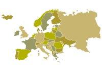 Correspondencia de Europa con los países contorneados Fotografía de archivo