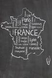 Correspondencia de Francia y nube de las palabras Foto de archivo libre de regalías
