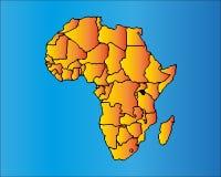 Correspondencia de África El continente africano con las fronteras separables Imagen de archivo