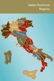 Correspondencia de Italia con las provincias y las regiones Foto de archivo