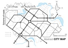 Correspondencia de la ciudad Línea esquema de caminos Calles de la ciudad en el plan Ambiente urbano, fondo arquitectónico stock de ilustración