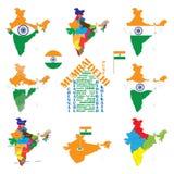 Correspondencia de la India, ciudades indias, estados e indicador de la India ilustración del vector