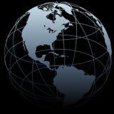 Correspondencia de la tierra 3D del símbolo del globo en negro Fotografía de archivo