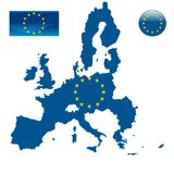 Mapa de la unión europea y de la bandera de la UE Fotografía de archivo
