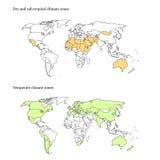 Correspondencia de las zonas de clima del mundo Foto de archivo libre de regalías