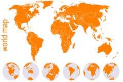 Correspondencia de mundo anaranjada con los globos de la tierra Fotografía de archivo