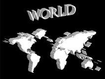 Correspondencia de mundo blanca ampliada en fondo negro ilustración del vector