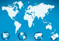 Correspondencia de mundo con el icono del globo Imágenes de archivo libres de regalías
