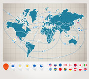Correspondencia de mundo con el seguimiento de la nave Foto de archivo libre de regalías