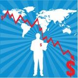 Correspondencia de mundo con la carta financiera stock de ilustración