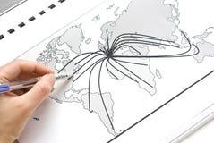 Correspondencia de mundo con las líneas Foto de archivo