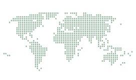 Correspondencia de mundo con las muestras de dólar verdes en puntos grises Foto de archivo libre de regalías