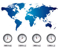 Correspondencia de mundo con las zonas horarias Imagen de archivo libre de regalías