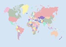 Correspondencia de mundo con los países Imagenes de archivo