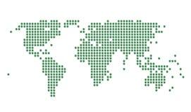 Correspondencia de mundo con los puntos y la muestra de dólar verdes Imagen de archivo libre de regalías