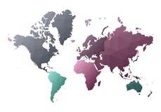 Correspondencia de mundo continentes polivinílicos bajos adicionales del estilo ilustración del vector