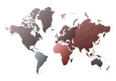 Correspondencia de mundo continentes polivinílicos bajos asombrosos del estilo ilustración del vector