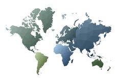 Correspondencia de mundo continentes polivinílicos bajos auténticos del estilo stock de ilustración