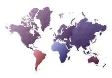 Correspondencia de mundo continentes polivinílicos bajos del estilo que encantan stock de ilustración