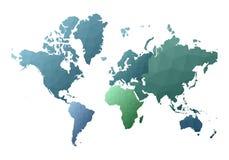 Correspondencia de mundo continentes polivinílicos bajos del estilo que sorprenden stock de ilustración
