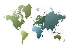 Correspondencia de mundo continentes polivinílicos bajos emocionales del estilo stock de ilustración