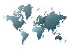 Correspondencia de mundo continentes polivinílicos bajos encantadores del estilo ilustración del vector