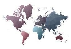 Correspondencia de mundo continentes polivinílicos bajos de fascinación del estilo stock de ilustración