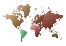 Correspondencia de mundo continentes polivinílicos bajos de fascinación del estilo ilustración del vector