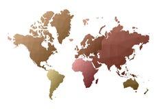 Correspondencia de mundo continentes polivinílicos bajos frescos del estilo stock de ilustración