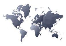 Correspondencia de mundo continentes polivinílicos bajos hermosos del estilo ilustración del vector