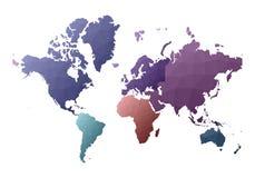 Correspondencia de mundo continentes polivinílicos bajos impresionantes del estilo ilustración del vector