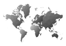 Correspondencia de mundo continentes polivinílicos bajos reales del estilo stock de ilustración