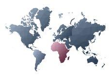 Correspondencia de mundo continentes polivinílicos bajos vivos del estilo stock de ilustración