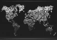 Correspondencia de mundo Corte los continentes Ilustración del vector Fotos de archivo libres de regalías