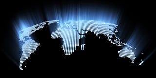 Correspondencia de mundo de alta tecnología que brilla intensamente Imagen de archivo libre de regalías