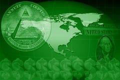 Correspondencia de mundo de dólar americano Imágenes de archivo libres de regalías