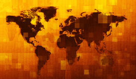 Correspondencia de mundo de Grunge Digital Fotos de archivo