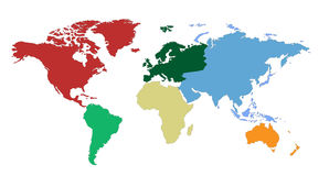 Correspondencia de mundo de los continentes Imagen de archivo libre de regalías