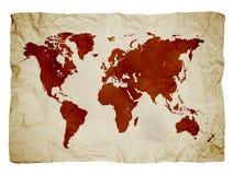 Correspondencia de mundo en el papel Fotos de archivo libres de regalías