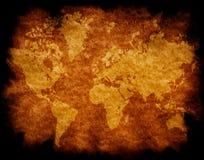 Correspondencia de mundo en el papel envejecido Foto de archivo libre de regalías