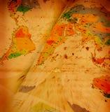 Correspondencia de mundo en el papel envejecido Fotos de archivo