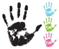 Correspondencia de mundo en palma Imagen de archivo