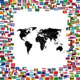Correspondencia de mundo enmarcada con los indicadores del mundo Fotos de archivo