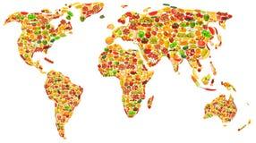 Correspondencia de mundo hecha de frutas y verdura Imagenes de archivo